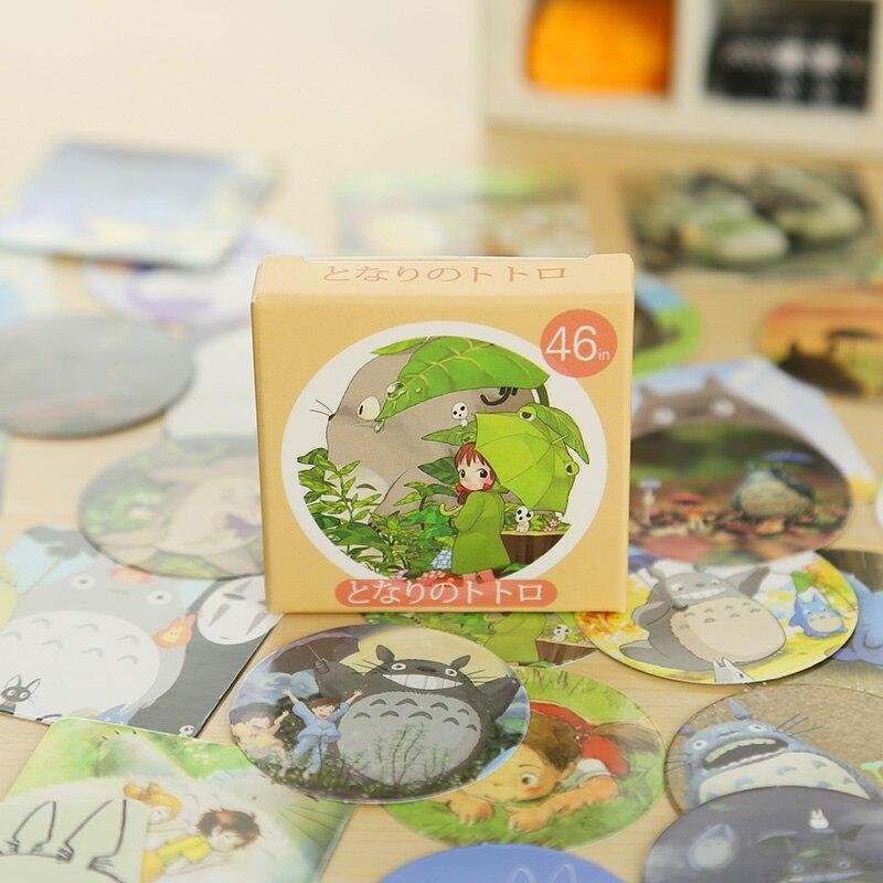 46 Pcs/ Box Cute Totoro Mini Paper Sticker Decoration DIY Diary Scrapbooking Seal Craft Sticker Kawaii Stationery