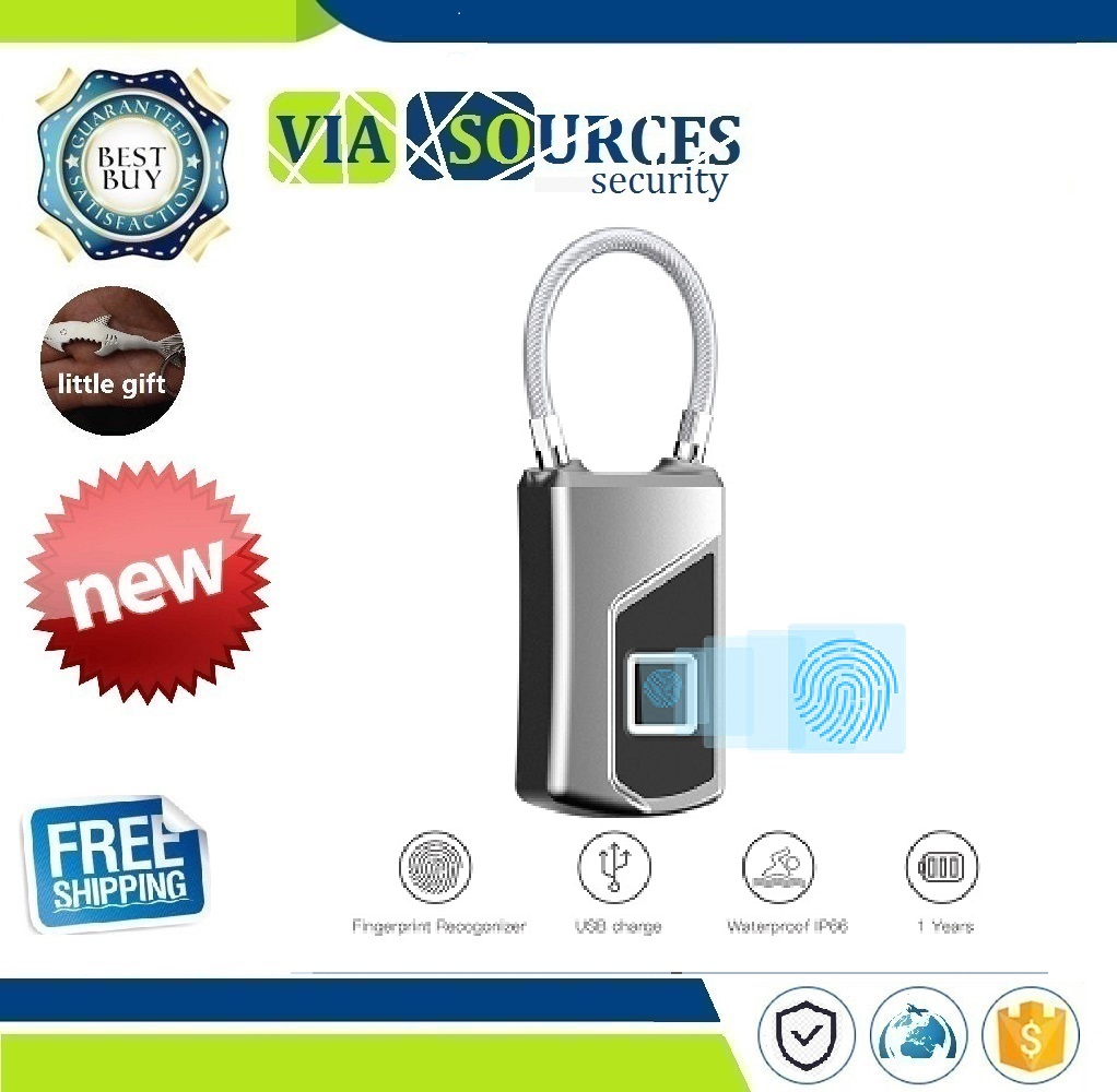 Smart Fingerprint Padlock LED Safe USB Charging Rechargeable Waterproof Door Lock Home SecuritySmart Fingerprint Padlock LED Safe USB Charging Rechargeable Waterproof Door Lock Home Security