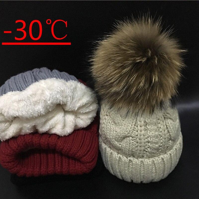 2018   Skullies     Beanies   women Plus velvet Winter Hat For Women Warm Women Hat Brand Knitting Cap 18cm fur pom poms Leisure Hat