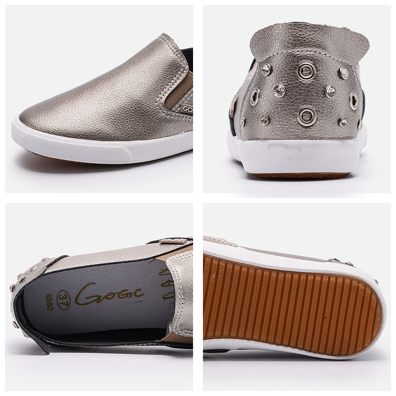GOGC Marca Studs & Crystal Flat Shoes Mujeres Soft Design Shoes - Zapatos de mujer - foto 4