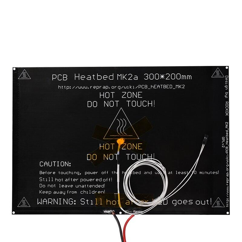 MK2A 300*200*3mm RepRap RAMPES 1.4 En Aluminium PCB Heatbed + LED Résistance + Câble + Thermistances pour 3D Imprimante pièces MK2B