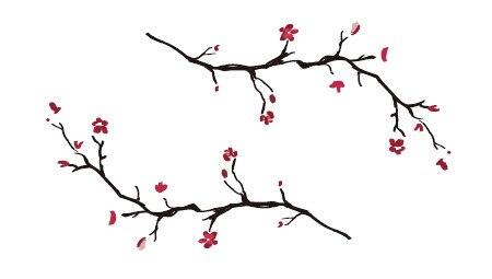 Impermeable Temporal Tatuaje Pegatinas Lindo Rojo Ciruela Flores