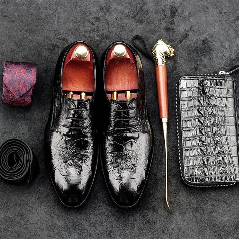 Puntiagudo Vestir Para burgundy Black Pie Oxfords Zapatos Negocios Estampado Dedo Hombre Genuino De Cuero Cocodrilo Formales Boda Del pxv1qpw