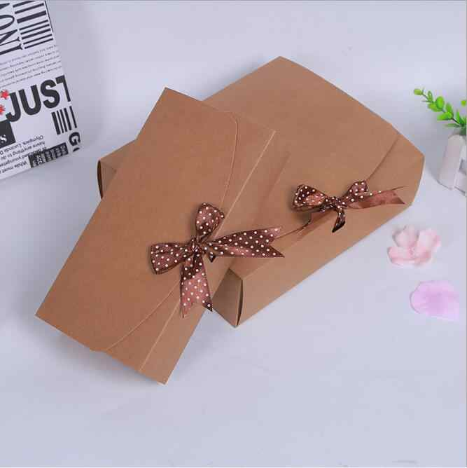 11.5*11.5*5cm 20pcs Kraft Paper Small Candy Box for Guests Wedding Favors and Gifts Packing Boxes With Ribbon