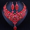 Beads africanos Conjunto de Jóias Banhado A Ouro Colar de Cristal da gota De água Brincos para Mulheres Moda Nupcial conjuntos de Jóias de Casamento