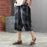 BUYKUD 2019 Summer New Hot Cotton Linen Women Harem Pants Plaid Casual Elastic Waist Calf Length Trousers Female Loose Pants