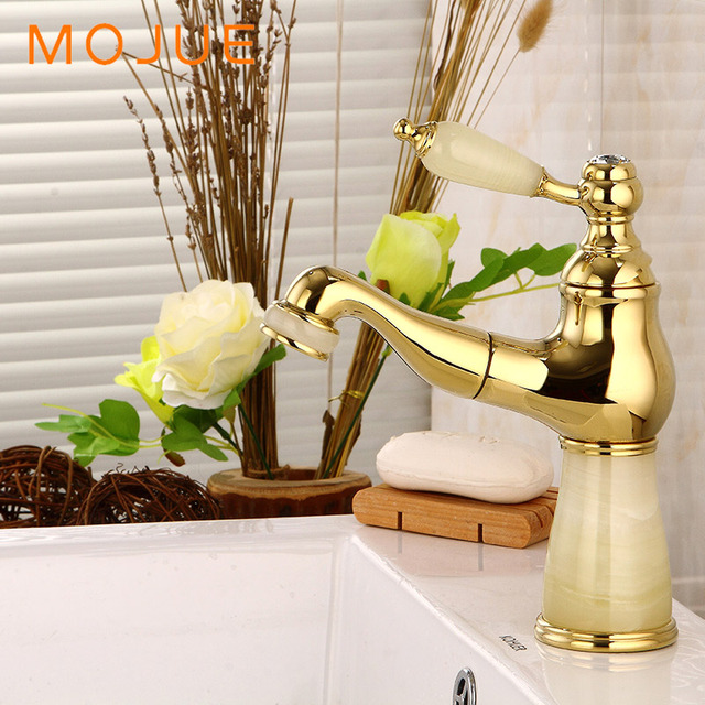 Mojue Basin Faucet Br Sink Mixer Tap Vintage Pull Down Bathroom Faucets Luxury Jade Body Single