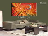 送料無料! 手塗り オレンジ抽象油彩画博物館上の キャンバス壁アート有名な アーティスト リビング ルーム