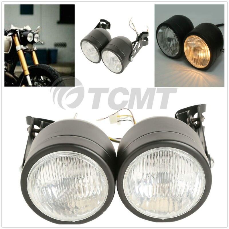 "Universal Single 7/"" Round BLACK Motorcycle Headlight Streetfighter Cafe Racer"