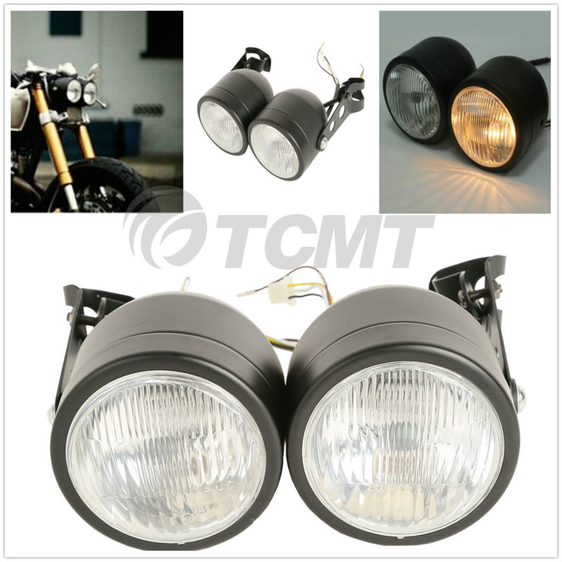 Moto Double Phare Avant lampe W/Support Pour Harley Street Fat Boy Dual Sport Dirt Vélos Street Fighter Nu café Racer - 1