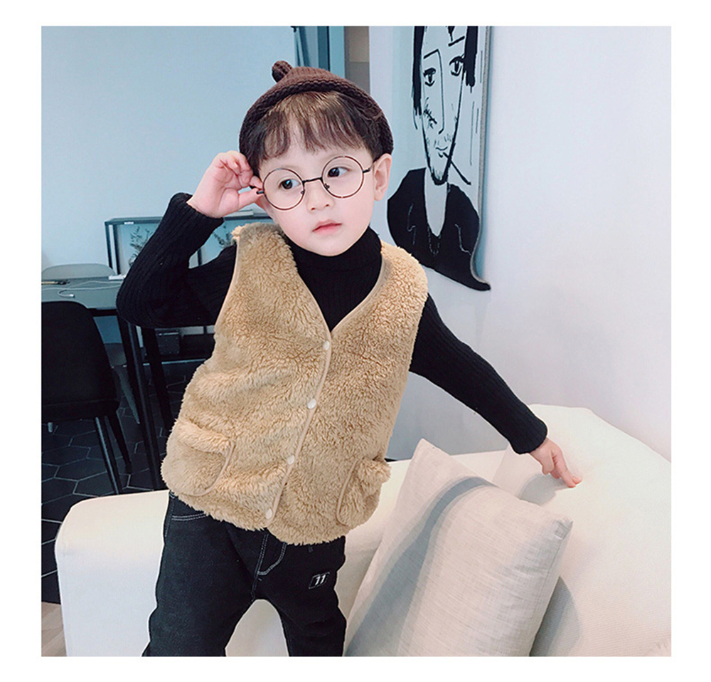 Children Winter Vest Warm Fur Autumn Kid Vest Sleeveless Boy Girl Jacket Clothing Baby Outwear School Uniform Party Wedding Gift