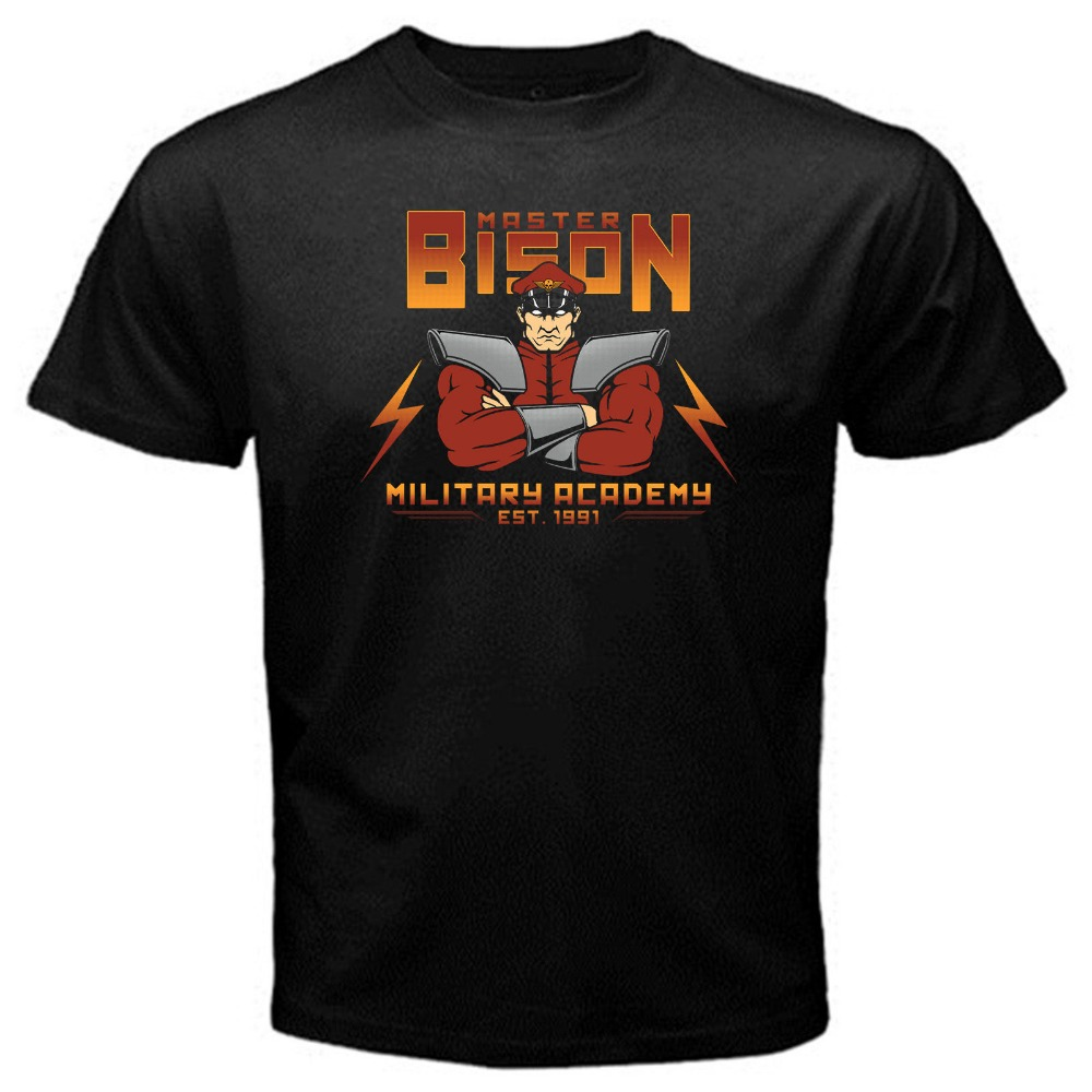 Master Bison classic video game T-Shirt Black Basic Tee Funny Printing T Shirts Men Short Sleeve T-shirts