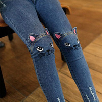Baby Girls Jeans Cute Cartoon Pattern Kids Jeans Winter Autumn Lovely Cat High Quality Children Pants