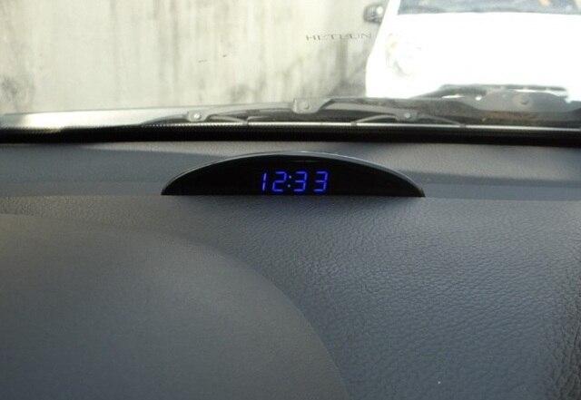 Бесплатная Доставка (синий) LED время Автомобиль часы + двойной температура + напряжение функция электронные часы с оболочки сенсорные кнопки