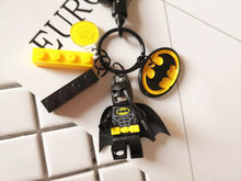 Cute Batman Figures Doll Keychain Building Block Key Ring Pendant for Women Bag Backpack Charms Car Key Accessories(China)