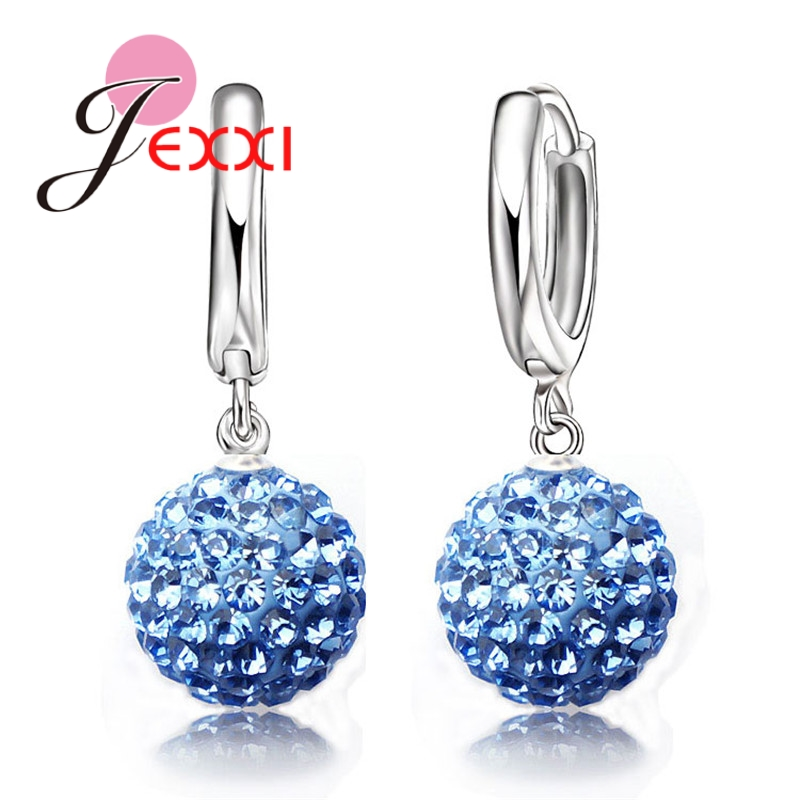JEXXI Hot Sale Multi Colors 1 Pair Real Pure 925 Sterling Silver Austrian Pave Disco Ball Hoop Lever back Earring Woman Jewelry
