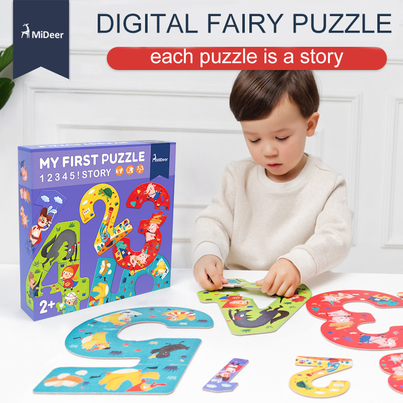 MiDeer 15 piece Cardboard Digit My First Puzzle 12345 Fairy Story Best Kids Educational toys for Toddlers Children Birthday Gift