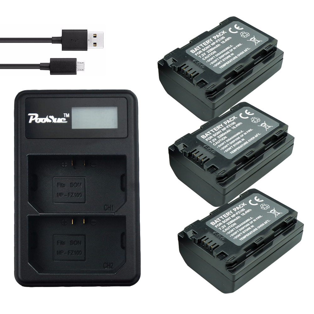 2280mAh NP-FZ100  NP FZ100 Battery + LED Np-fz100 Dual USB Charger For Sony NPFZ100, BC-QZ1, Sony A9, A7R III, A7 III, ILCE-9