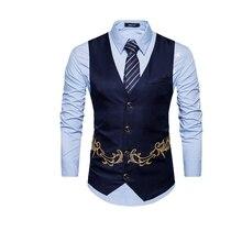 b3d3bb7be73e3 Homens de luxo Bordado Smart Casual Slim Fit Colete Outono Colete Tops  Vestuário Partido Banquete Azul