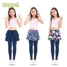Хлопковые детские леггинсы с юбкой для девочек; юбка-брюки; Штаны для детей с цветочным принтом; эластичные узкие брюки; брюки