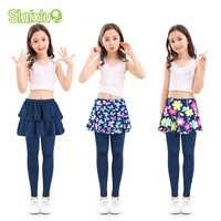 Coton enfants filles leggings avec jupe Culottes rendre pantalon pour enfants fleur imprimé élastique crayon pantalon pantalon