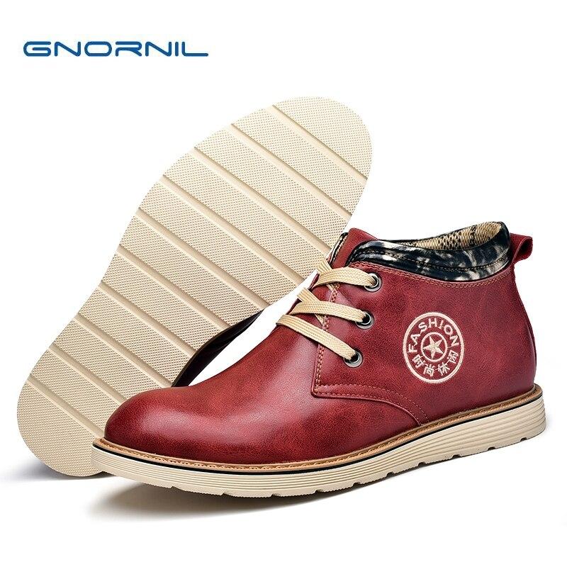ed224a9a24 2018 Casuais Sapatos wine Couro Plush Red Masculino Confortável Da Retro  brown wine Boots Outono Moda ...