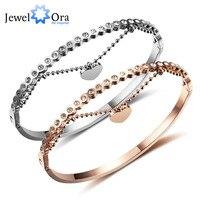 טוויסט חדש לנשים צמיד צמידי כסף נירוסטה & רוז זהב צבע צמיד לנצח אוהב את לב לנשים JewelOra BA101799