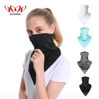 WorthWhile Cycling Bandana Face Shield Triangle Ice Silk Cool Scarf Outdoor Sport Women Men Headband Faceshield Mask Neck Warmer