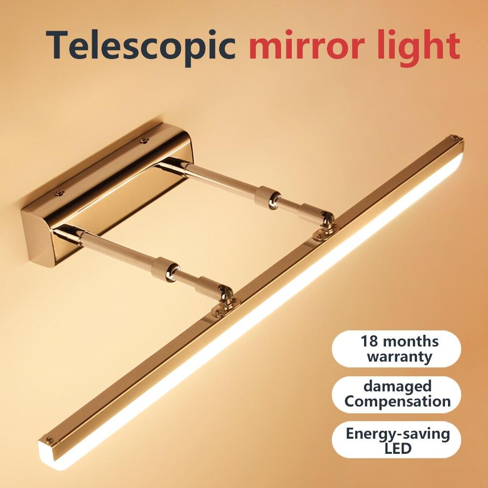 Wall lamp bathroom led mirror light ac 240v 110v led lights fixtures silver vanity wall sconces lamp adjustable indoor lighting