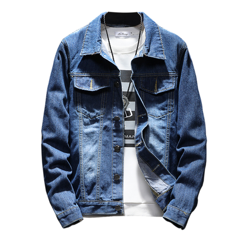 Jacket Mens 2018 Fashion Autumn Solid Bomber Jacket Men Denim Jacket For Men Bomber Coat Male Plus Size 4XL 5XL High Quality