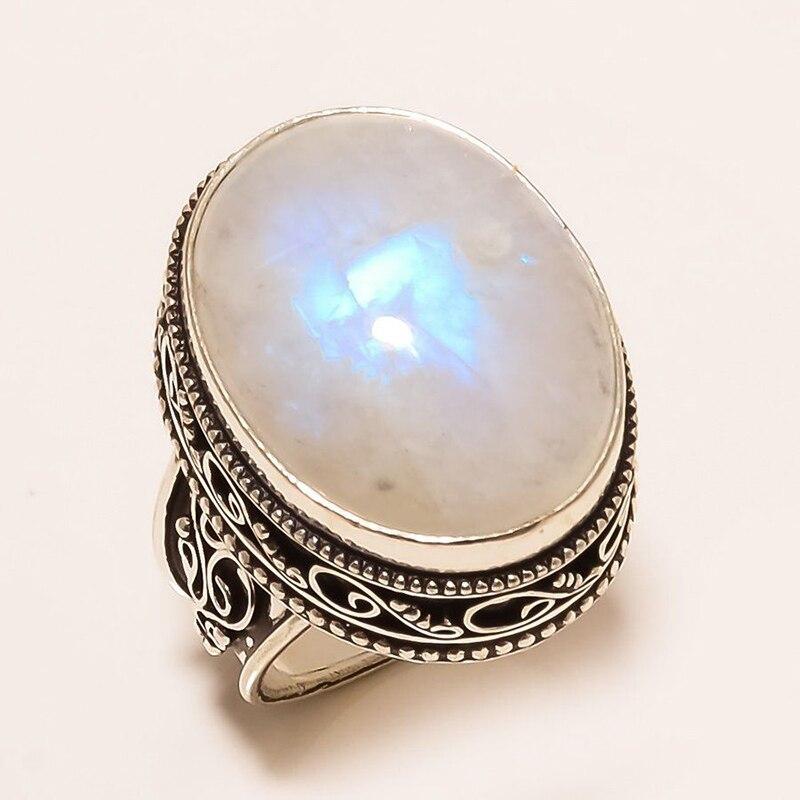 Богемное винтажное овальное кольцо с лунным камнем для женщин Ретро, тибетский античный серебряный цвет кольцо с резьбой на палец хорошее ю...