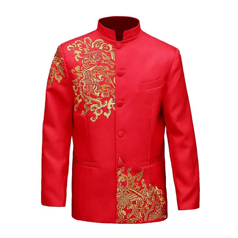 Vêtements chinois d'outre-mer style traditionnel mariage haut bleu marié dragon robe de soirée rouge haut slim rouge tang costume chinois tunique - 5