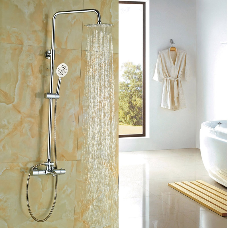 ᗛBath 8-in Brass Shower Thermostatic Shower Set Chrome Finish ...