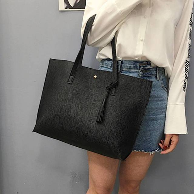 Simple Fashion Women Handbags 2020 Leather Solid Tassel Pendant Large Capacity Korean Ladies Shopping Travel Hand Bag women bag Uncategorized Fashion & Designs Ladies Bags Luggage & Bags Women's Fashion