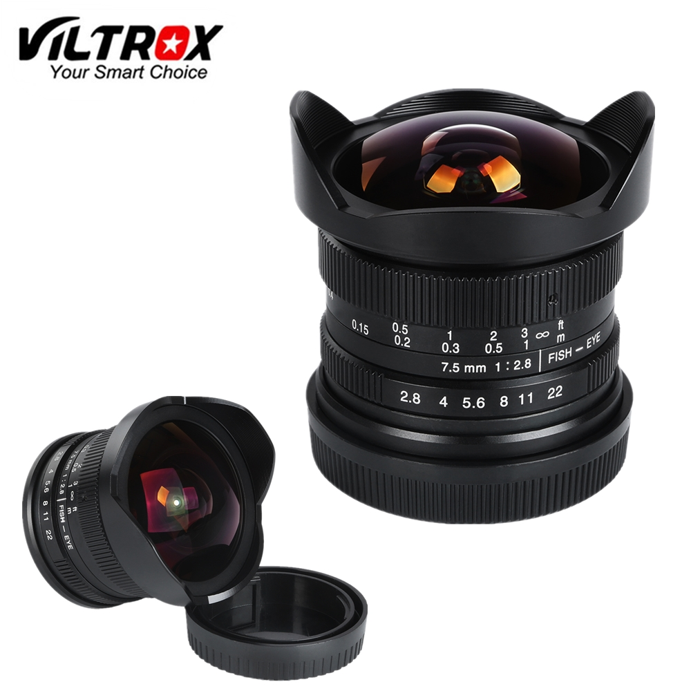 Viltrox 7,5mm F/2,8 Ultra Weitwinkel Fisheye Objektiv APS-C für Makro 4/3 Panasonic GH5 GX8 G7 GF6/Olympus M1 M5 II M10 III
