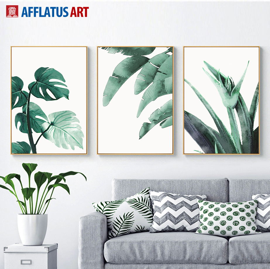 US $3 4 40% OFF|Watercolor Green Tropical Big Leaves Wall Art Canvas  Painting Nordic Posters And Prints Wall Pictures For Living Room Home  Decor-in