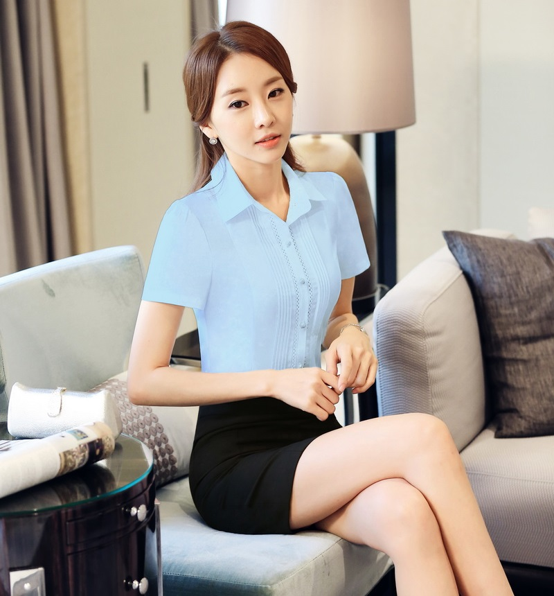 new summer formal light blue shirts women work blouses and tops short sleeve fashion ladies shirts female olin blouses u0026 shirts from womenu0027s clothing