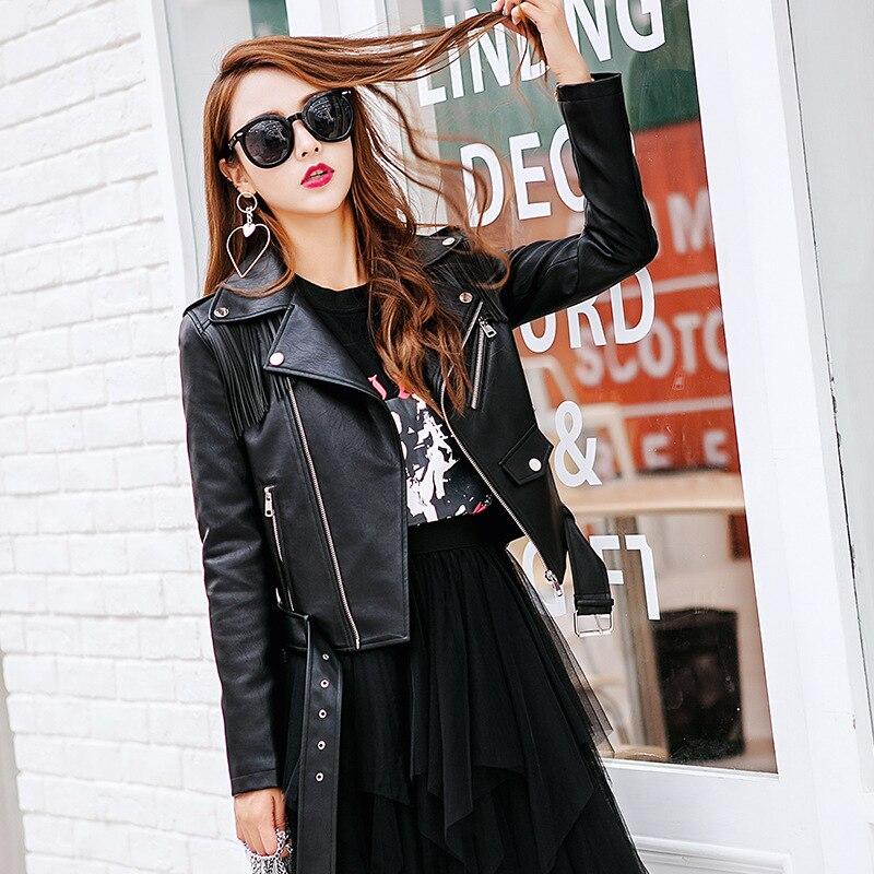 Cuir Zipper Avec Femmes Glands Veste Femelle 2019 Faux Black Revers Mode Pu Vestes En Doux Rivet Ceinture Moto Nouveau Manteau Uww0qTZI