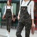 2016 Nova Marca calças de Camuflagem Macacão Para As Mulheres Outono Inverno Uma Peça Romper Macacão Skinny Slim Jumpsuits Camo