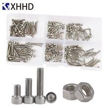 цена на DIN912 Hex Socket Head Cap Screw Metric Thread Hexagon Allen Bike Machine Bolt Nut Set Assortment Kit Box 304 Stainless Steel M2