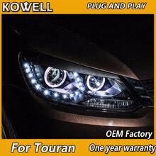 KOWELL style de voiture pour VW Touran phares 2011-2015 nouveau Touran phare LED DRL Bi xénon lentille feux de croisement feux de brouillard
