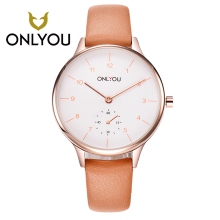 ONLYOU Ultra-thin Womens Watches Charm fashion Ladies Watch Dess Leisure Quartz Wristwatch Orange white Leather Womens watches d