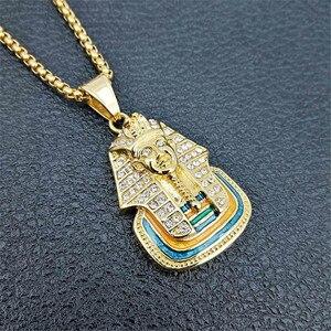 Image 2 - Ai Cập Pharaon TượNg Nhân Sư Mặt Dây Chuyền Đồng Hồ Châu Và Đá Ra Bling Ren Cổ Hip Hop Ai Cập Trang Sức