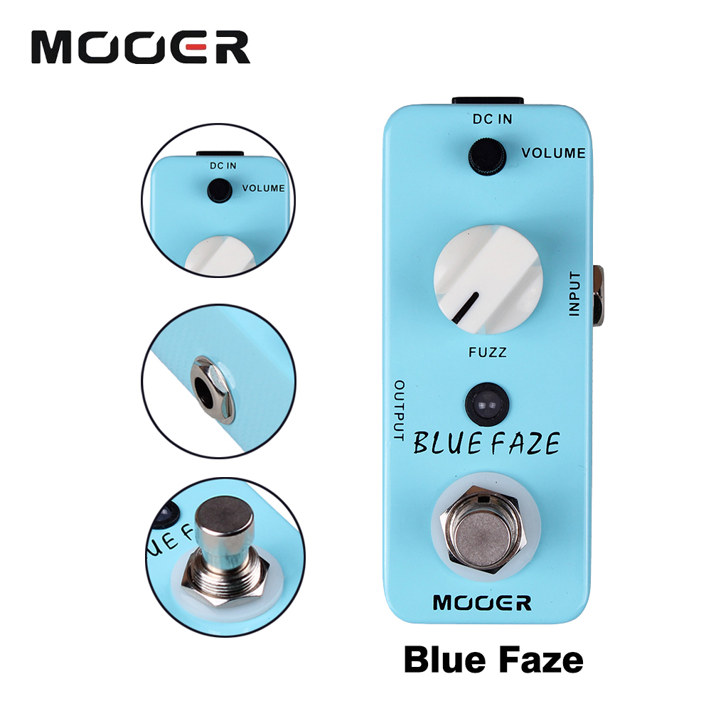 Mooer Blue Faze Full Metal Shell Effects Mini Classic Smooth Vintage Fuzz Sound Effect Pedal Guitarra Accessory mooer ensemble queen bass chorus effect pedal mini guitar effects true bypass with free connector and footswitch topper