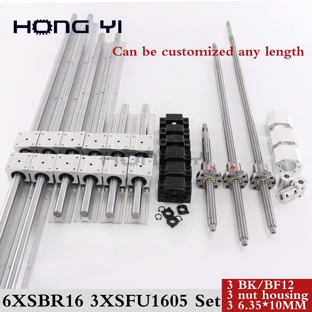 6 ensembles rail linéaire SBR16 linéaire guide n'importe quelle longueur + roulement linéaire blocs + SFU1605 vis à billes + 3 BK12/BF12 + 3 DSG16H écrou + 3 Coupleur