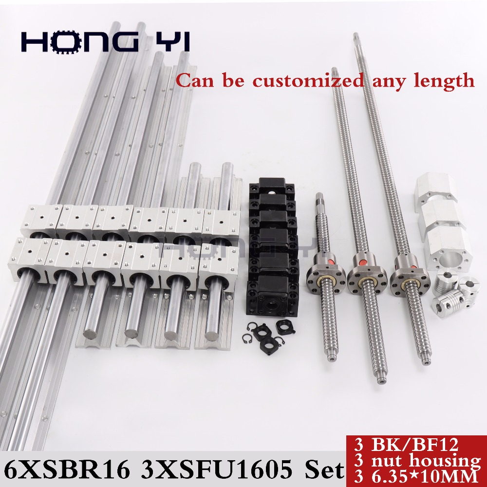 6 sets linear rail SBR16 linear guide any length+ linear bearing blocks+SFU1605 ball screw+3 BK12/BF12+3 DSG16H nut+3 Coupler