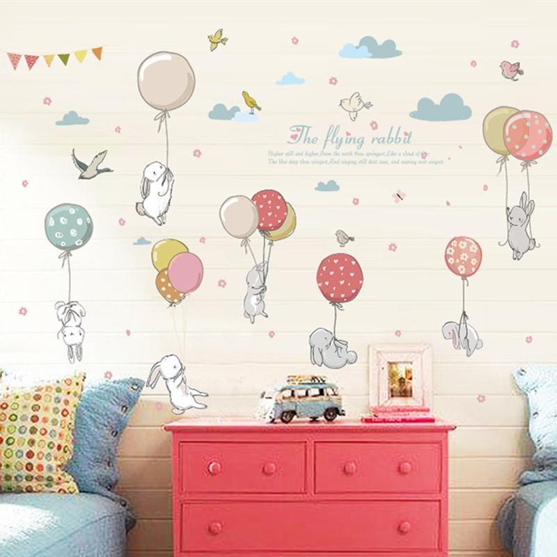 Cartoon Clouds DIY Mural Cute Balloon Rabbit Bunny Wall Sticker For Kids Room Decor Furniture Wardrobe bedroom Living Room Decal