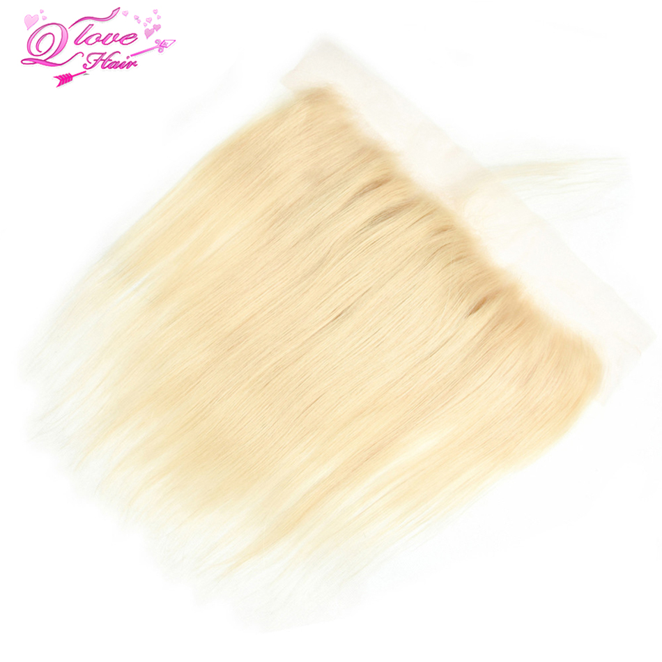 Queen Love Hair Peruvian Hair Straight Wave Blonde Color Ear To Ear Lace Frontal Human Hair 613 Frontal 13x4 Closure Remy Hair