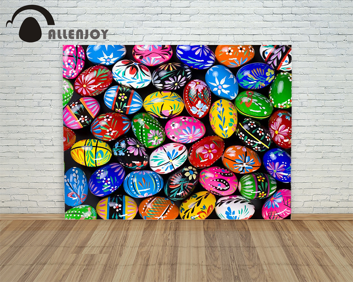 Allenjoy background Happy easter eggs colorful daisies painted children Photophone photo for photos
