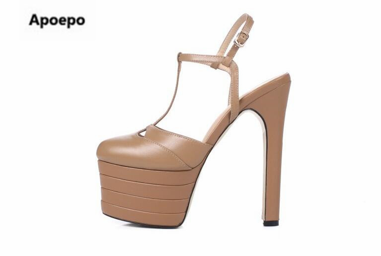 Apoepo Brand gladiator platform shoes women mixed colors 15 cm super high heels sandals women buckle strap summer pumps 2018 xiaying smile summer woman sandals platform wedges heel women pumps buckle strap fashion mixed colors flock lady women shoes